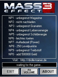 Mass Effect 3 trainer + 10