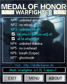 Medal of Honor Warfighter Trainer: Plus 7