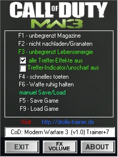 Call of Duty: Modern Warfare 3 Vers.1.0 Trainer+7